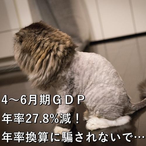 4~6月期GDP年率27.8%減!年率換算に騙されないで…