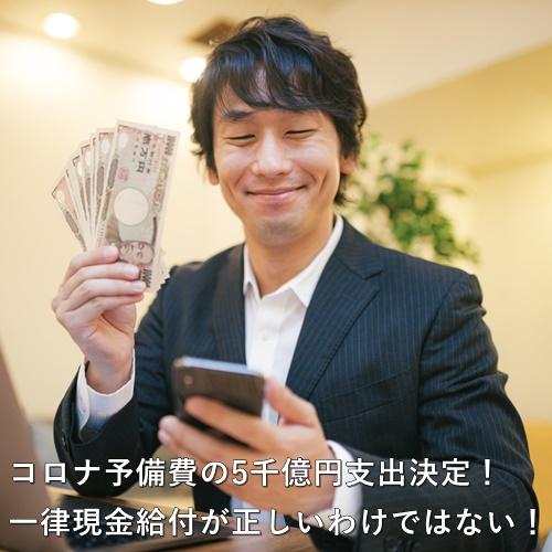 コロナ予備費の5千億円支出決定!一律現金給付が正しいわけではない!