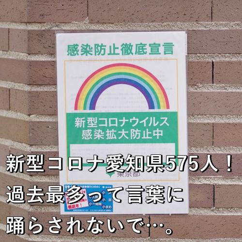 新型コロナ愛知県575人!過去最多って言葉に踊らされないで…。