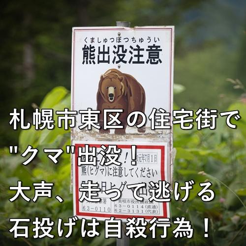 """札幌市東区の住宅街で""""クマ""""出没!大声、走って逃げる、石投げは自殺行為!"""